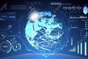 abstract technology concept global network connection futuristic earth globe virtual hologram communication system world and digital link business Connection hi tech background.Vector Illustration